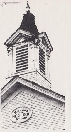 Picturre of the Bell Tower and Steeple damaged by Lightening in 1963 as reported by a local Newspaper