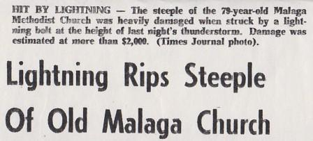 Part of the Newspaper article about the Lightening Strike that hit the Bell Tower and Steeple in 1963